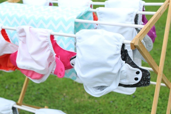 Cloth diaper on cloth line