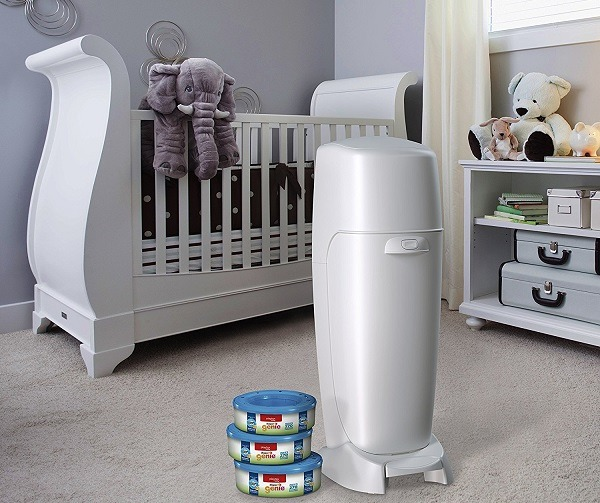 White diaper genie in a nursery