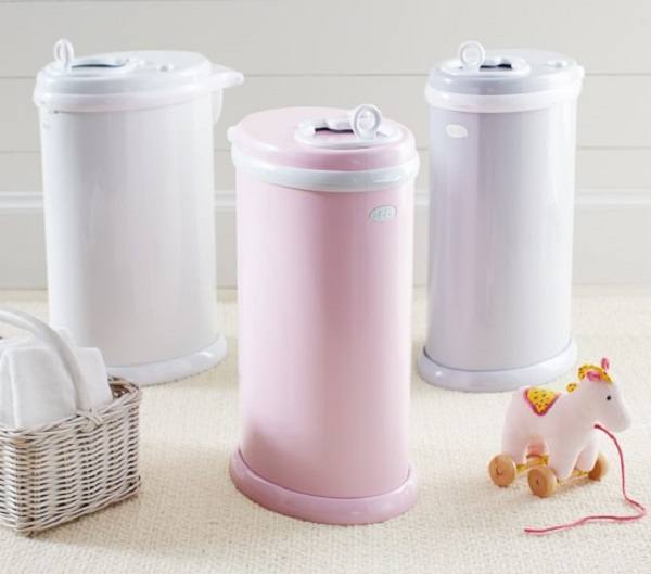 Pastel colored diaper pails